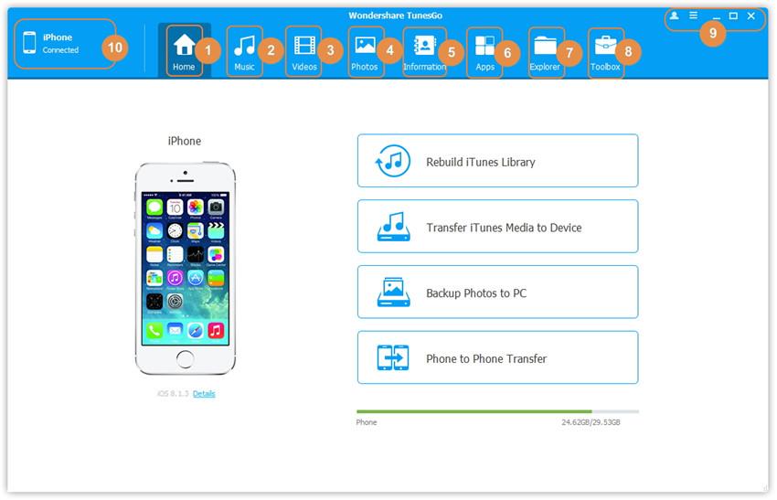 Interfaz de Usuario de TunesGo - Inicio sin dispositivo conectado