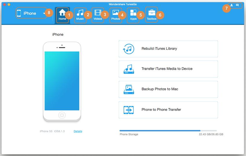 Interfaz de Usuario de TunesGo - Mac Version