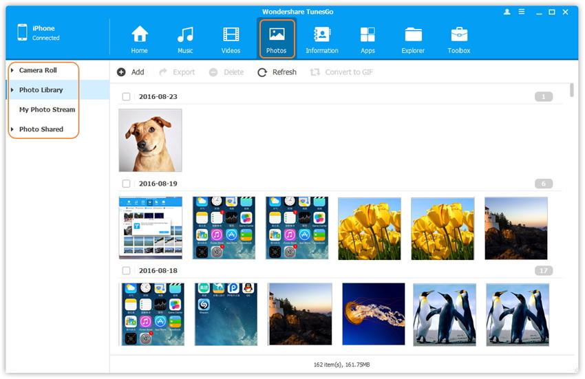 Interfaz de Usuario de TunesGo - Fotos