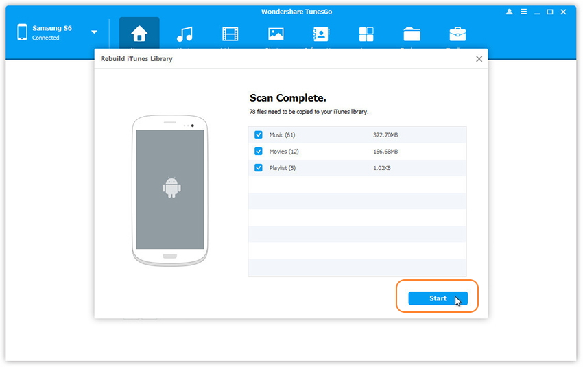 Transfer Android Media Files to iTunes Library