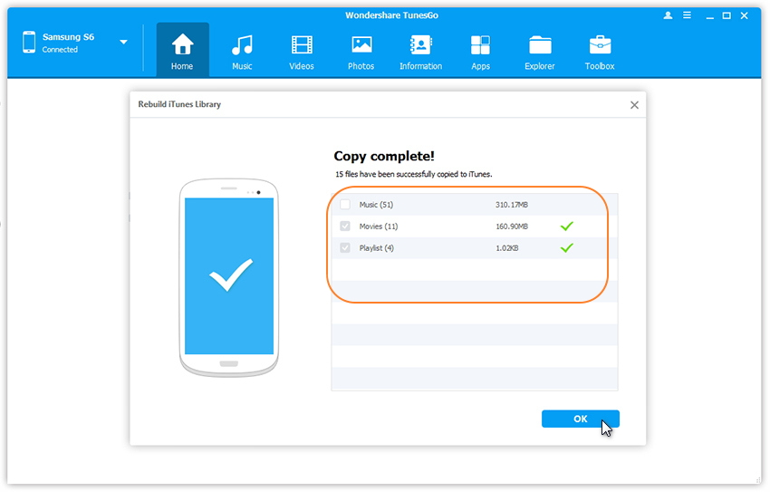 Transfer Android Media to iTunes
