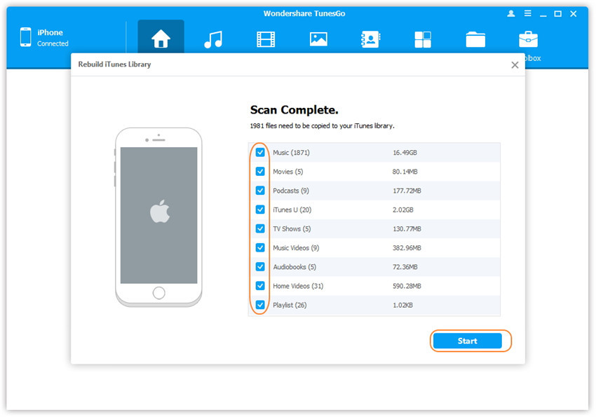 1-click rebuild iTunes library - show media files on iDevice